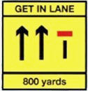 Motorway Sign Lane closes in 800 yards